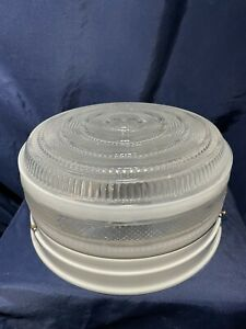 NEW! Vintage Seagull Lighting White Drum Retro Ceiling Light Fixture 10 1/4""