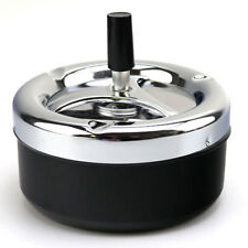 Portable Metal Ashtray Spinning Plain Cigarette Push Down Ash Holder Black