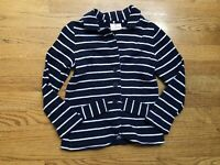 Hanna Andersson Jacket Blazer Navy Blue Striped Long Sleeve Girls Size 6-7 120
