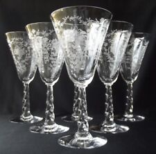6 FABULOUS VINTAGE FOSTORIA MAYFLOWER FLORAL ETCHED WATER GOBLETS #6020