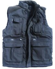 ULTIMATE BODYWARMER mens large dark blue padded coat tough multi pocket jacket