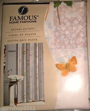 FLORAL FABRIC SHOWER CURTAIN BY FAMOUS HOME FASHIONS SZ 70in X 72in  NEW IN BAG