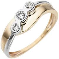 Ring mit 3 weißen Zirkonia 333 Gold Gelbgold Weißgold Goldring Fingerschmuck