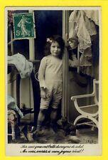 Carte Postale 1910 Old Postcard FANTAISIE FILLETTE LITTLE GIRL CHAT CAT Dressing