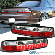 For Nissan 89-94 240SX S13 2Dr Coupe Red Clear Lens LED Tail Lights Brake Lamps