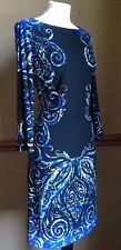Optical Illusion Slimming Party Dress 10 12 Boho 70s Aztec Tribal Pinup Stretch