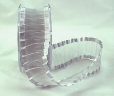 Silver Crinkled Satin Edge Organza Ribbon 38MM Wide