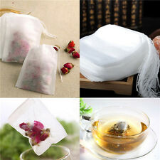 100x White Empty Paper Herb Loose Tea Bags Teabags String Heat Seal Filter LJ