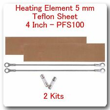"""2 Replacement Heating Elements 5 mm +2 PTFI Sheet for Impulse Sealer 4"""" PF100"""