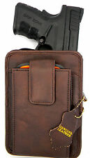 BROWN LEATHER CONCEALMENT (CCW) GUN PACK BELT HOLSTER FOR SPRINGFIELD XDS 3.3""