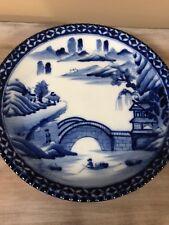 Antique Yamatoku Blue White Charger c 1910 Arita Imari Porcelain Meiji