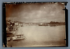 UK, Scene in a Harbor  Vintage citrate print.  Tirage citrate  9x13  Circa