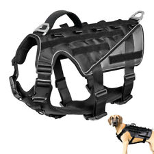Military Tactical Molle Dog Harness Large Dogs Service Vest Harness Black M