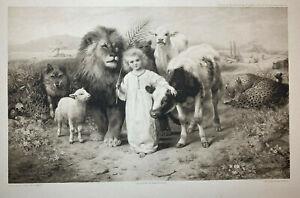 "ANTIQUE WILLIAM STRUTT PEACE ""LITTLE CHILD SHALL LEAD THEM"" 1896 PRINT ENGRAVING"