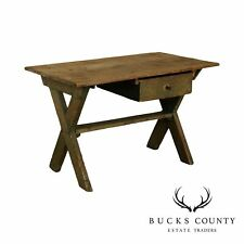 Antique Pine Sawback Table or Desk with Drawer