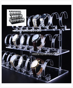 Acrylic 24 Watches Bracelets Wrist  DISPLAY STAND Holder Show Case Stand UK