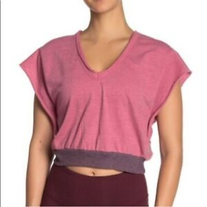 Free People Movement Happy Camper Womens V Neck Crop Top Workout Tee Pink Small