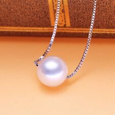 genuine 925 sterling silver Cream 7mm Round pearl pendant necklace UK  seller