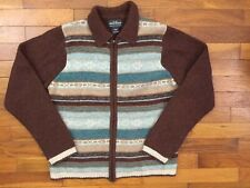 Woolrich 100% Wool Full Zip Sweater women's MEDIUM brown jacket fiar isle 1a140