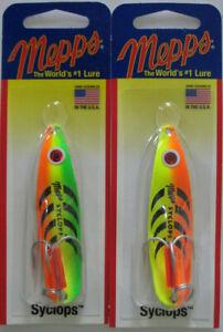 2 - Mepps Syclops Spoons - 5/8 oz. - Hot Orange/Chartreuse & Hot Firetiger