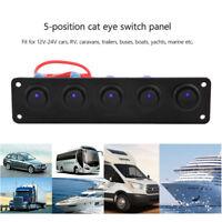 12/24 volt Car RV Campervan Truck Marin Boat 5 Gang LED Rocker Switch Panel Blue