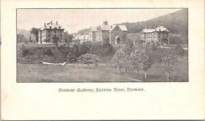 Lithograph Saxton's River VT View of Vermont Academy early 1900s