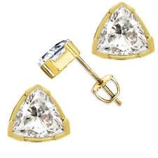 Trillion Cut Stud Earrings 3.0 ct Solid 14k Yellow Gold Screw Back Jewelry Gift