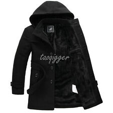 MENS FUR LINED HOODED TRENCH LONG COAT BELT WOLL BLEND LAPEL OVERCOAT PARKA NEW