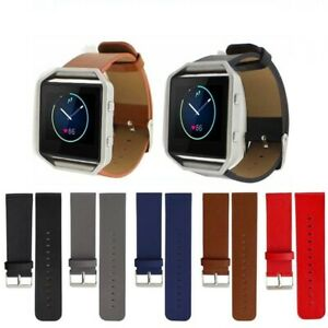 █  Genuine Leather Watch Band Strap Steel Frame For Fitbit Blaze Wristband New █