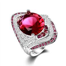 Turkish 925 Silver Oval Ruby Diamond Gemstone Marquise Design Wedding Ring !!