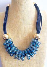 Cristal Azul Babero Collar de declaración de Boda Grueso Burbuja