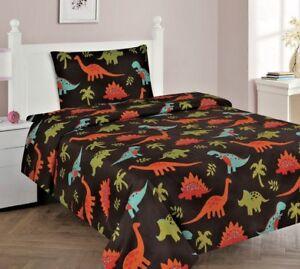 3/4 Piece Kids/Teens Fitted Flat SHEET Pillow Cases Set Dinosaur Brown Jungle