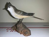 """Vintage Peter Peltz Carved, Hand painted, & Signed Tufted Titmouse Bird 4"""" Tall"""