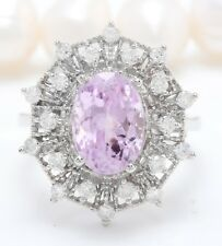 5.01Carat Natural Pink Kunzite and Diamonds 14K Solid White Gold Women Ring