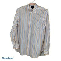 Faconnable Men's size XXL Blue Orange White Striped Long Sleeve Shirt