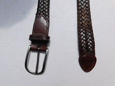 "PERRY ELLIS MENS  BROWN BRAIDED  LEATHER BELT 1.0"" WIDE SILVER HARDWARE SIZE 42"