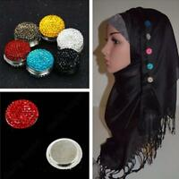 Magnetic Round Hijab Headscarf Abaya Clasp Brooch Shawl Scarf Crystal Accs Hot