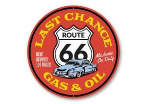 Gas and Oil on Route 66 Aluminum Sign