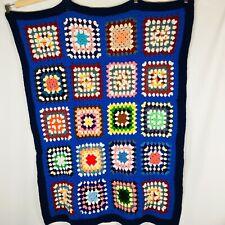 Rainbow Handmade Crochet Afghan Knit Throw Lap Bed Couch Blanket Retro 41 X 33