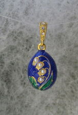 Silver Lily of Valley Egg Pendant, Blue & Green Enamel, Pearls&Cubic Z.Crystals