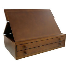 US Art Supply 2-Drawer Adjustable Wooden Storage Box with Fold Up Drawing Easel