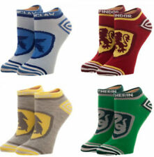 """Licensed Harry Potter """"CRESTS"""" 4 Pairs Ankle Socks For Women Fits Sock Size 9-11"""
