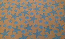 COVINGTON STARFISH TANGERINE ORANGE BLUE SEASHELL JACQUARD FABRIC BY THE YARD