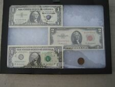 4/SET: 2 $1 Bills,1 Red Seal $2 Bill & 1 Old One Cent US Coin With Framed Glass!