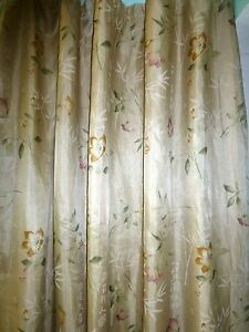 SATURDAY KNIGHT Blue BUTTERFLY Beige FLORAL Embroidered SHOWER CURTAIN