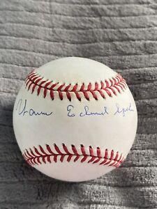 Warren Edward Spahn Full Name Signed Baseball Atlanta Milwaukee Braves Beckett