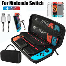 For Nintendo Switch Accessories Hard Case Bag+ Shell Cover+Cable+Tempered Glass