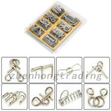 8Pcs/set Metal Wire Puzzle Game IQ Mind Test Brain Teaser Toys Kids Child Gifts