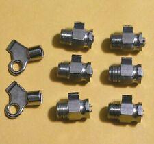 """6 Radiator Nickel Plated Brass Air Vent Bleeder Coin Valves 1/8"""" MIP & 2 Keys"""