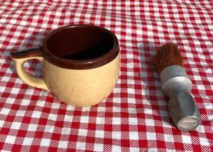 Rubberset Vintage Shaving Brush With Stoneware Mug